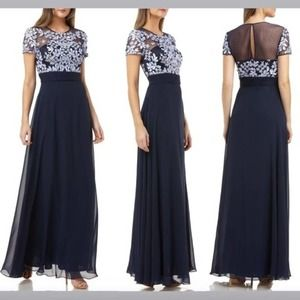 JS Collections Embroidered Illusion Gown